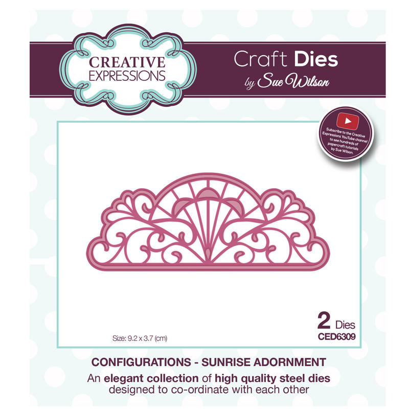 View Item Craft Die CED6309 Sue Wilson Configurations Collection - Sunrise Adornment