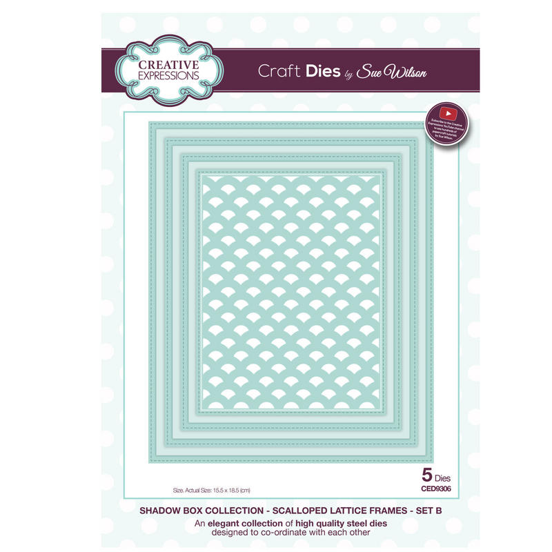 View Item Craft Die CED9306 Sue Wilson Shadow Boxes Collection Scalloped Lattice Frames B