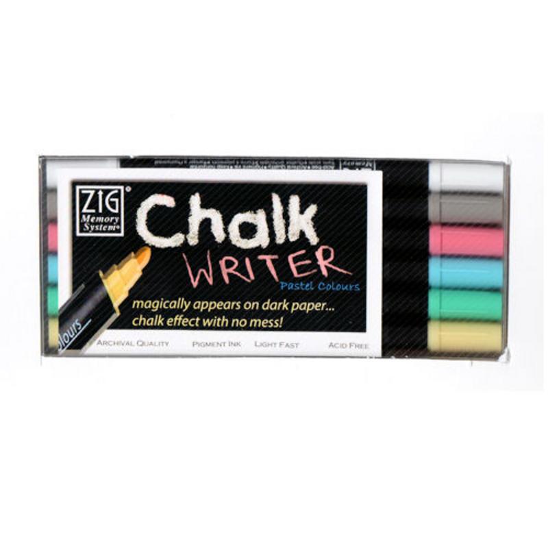 View Item Kuretake Zig Writer Chalk Pastel Marker Pens (6pc Set)