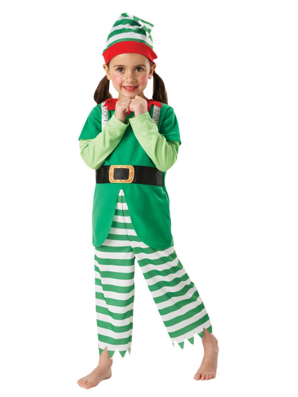 Child christmas elf fancy dress costume santa s helper