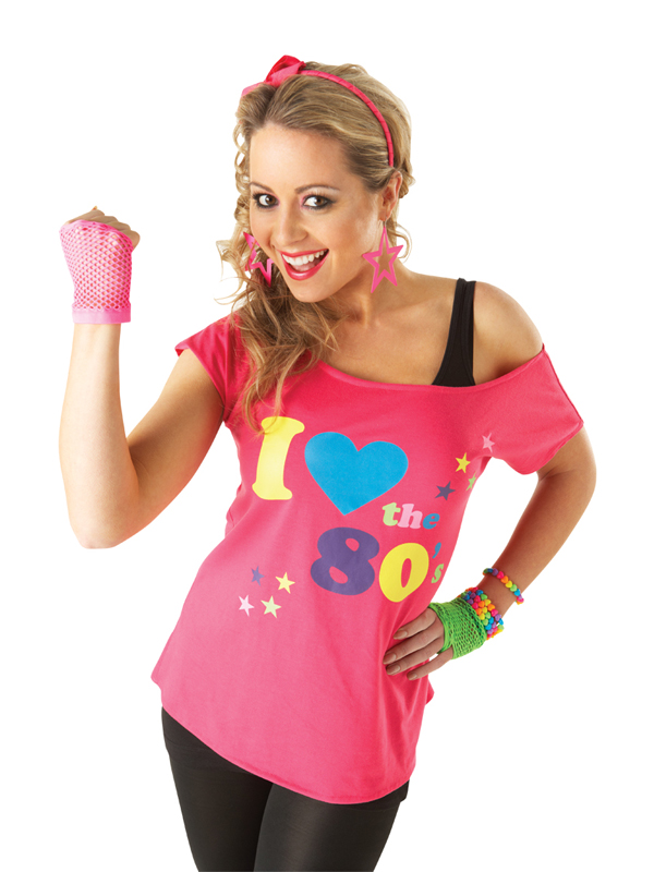 Adult-Pink-Sexy-I-Love-The-80s-Retro-T-Shirt-Fancy-Dress-Party-Costume-Ladies-BN