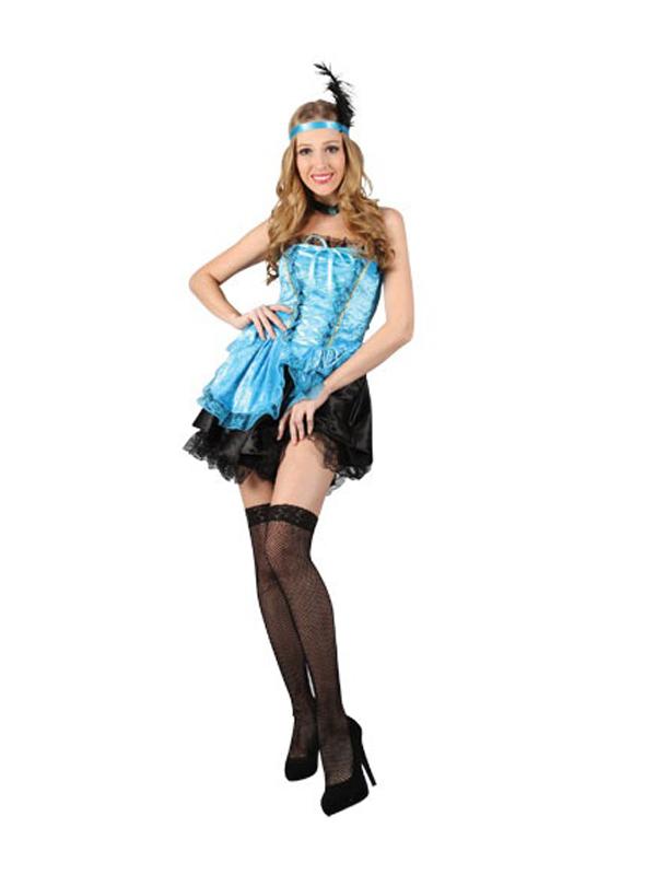 Ladies Turquoise Faux Velvet Burlesque Costume