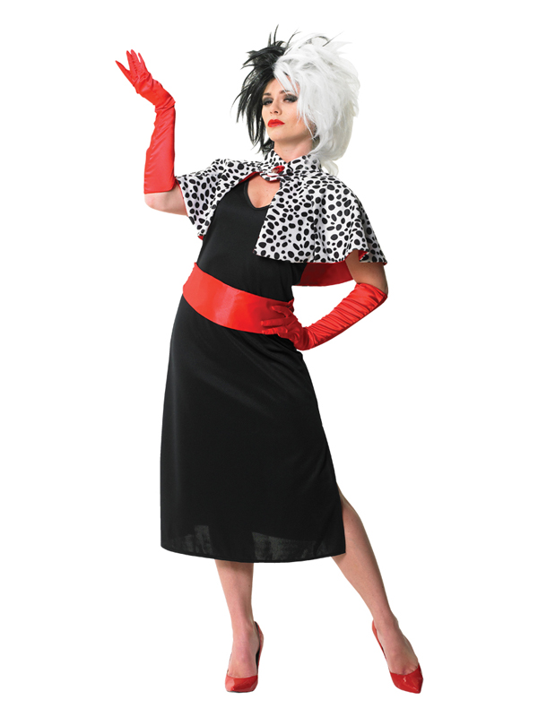 Adult-Disney-Cruella-De-Ville-Fancy-Dress-Costume-amp-Wig-101-Dalmations-Ladies