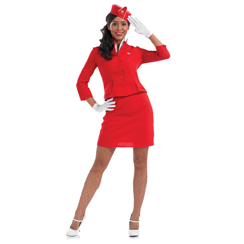 Air Hostess Cabin Crew Stewardess Pan Womens Ladies Fancy Dress Costume