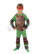 View Item Child Deluxe Teenage Mutant Ninja Turtle TMNT Fancy Dress Kids Costume + 4 Masks