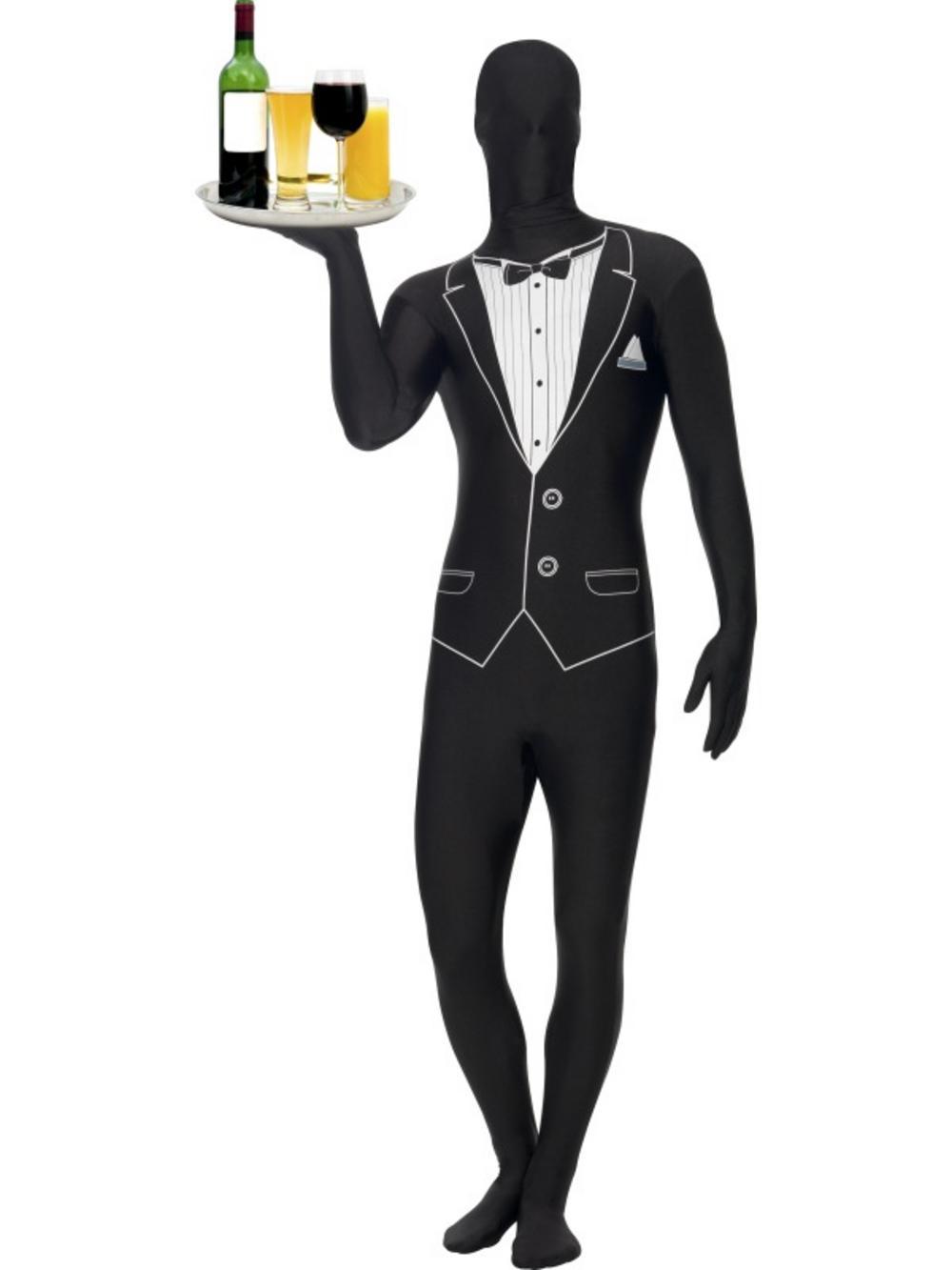 Adult second skin tuxedo fancy dress costume waiter james bond lycra bodysuit buy online - James bond costume ...