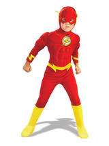 View Item Child The Flash Muscle Chest Outfit Fancy Dress Costume Superheroes Kids Boys