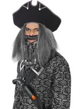 View Item Adult Black Pirate Hat Fancy Dress Caribbean Jack Sparrow Mens Gents Male