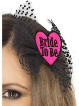 View Item Adult Bride To Be Hair Bow With Netting Fancy Dress Hen Night Party Ladies
