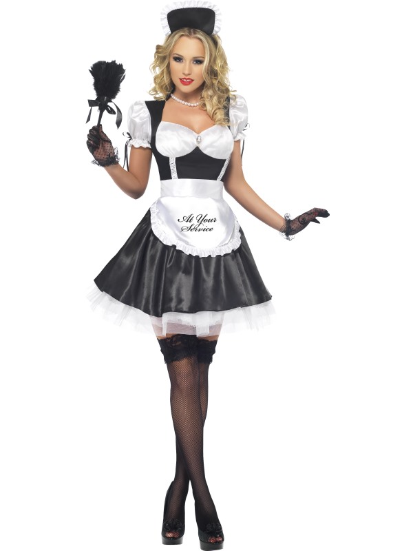 Adult Ladies Sexy Shiny French Maid Costume | French Maids ...