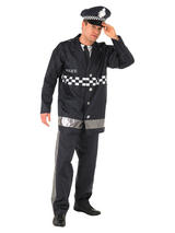 View Item Adult Policeman Fancy Dress Service Costume Mens Gents Male