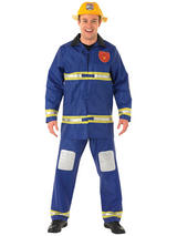 View Item Adult Fireman Fancy Dress Service Costume Mens Gents Male