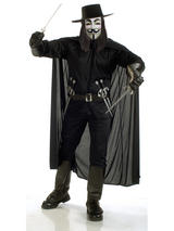 View Item Adult V For Vendetta Fancy Dress Costume Mens Gents Male