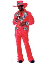 View Item Adult Red Hot Playa Player Pimp Gangster Suit Fancy Dress Costume Mens Gents