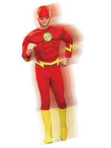 View Item Adult The Flash Deluxe Muscle Chest Fancy Dress Costume Mens Gents Male