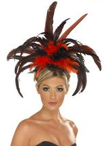 View Item Red Black Burlesque Feathered Headband Fancy Dress