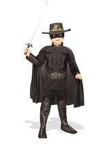 View Item Child Zorro Deluxe Muscle Chest Fancy Dress Costume Kids Hero