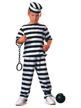 View Item Child Striped Prisoner Convict Jail Fancy Dress Costume Kids Criminal
