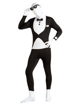 View Item Adult 2nd Skin Tuxedo Fancy Dress Butler Waiter Full Body Suit Mens Gents Male