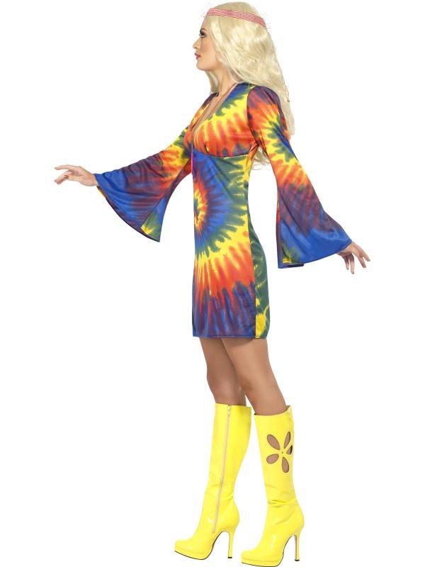 Adult 1960s Hippie Tie Dye Fancy Dress Costume Hippy Flower Power ...