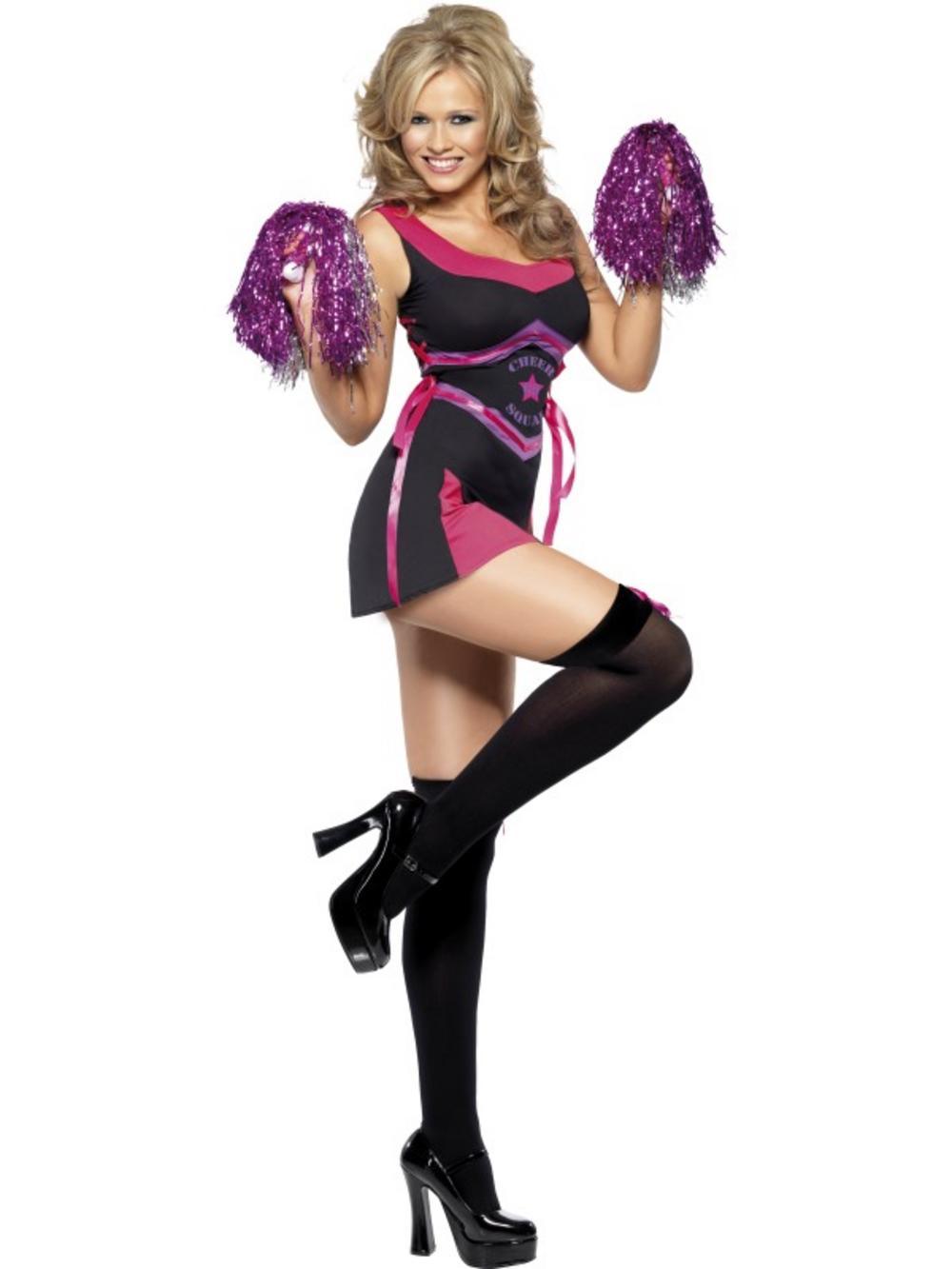 Adult Squad Cheerleader Fancy Dress Sport Costume Ladies