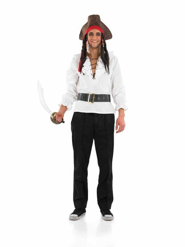Adult Pirate Shirt & Belt Fancy Dress Costume Caribbean Mens Ladies ...