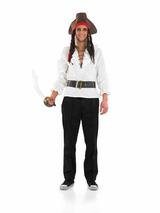 View Item Adult Pirate Shirt & Belt Fancy Dress Costume Caribbean Mens Ladies Gents Womens