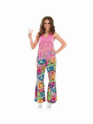 Ladies 60s 70s Hippie Top - Purple Thumbnail 2