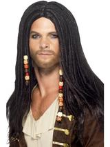 View Item Adult Beaded Pirate Fancy Dress Wig Caribbean Mens Gents Male