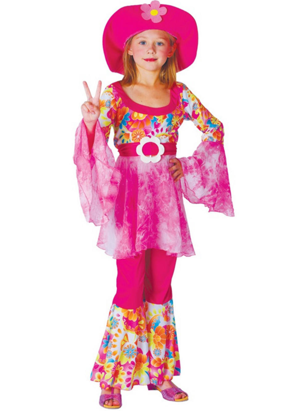child flower power fancy dress groovy hippie diva girl costume buy online. Black Bedroom Furniture Sets. Home Design Ideas