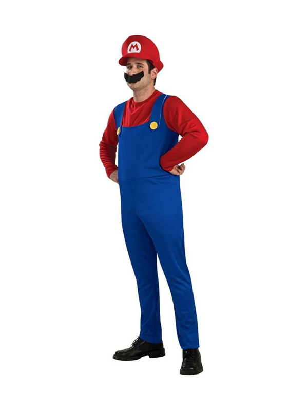 Adult Super Mario Brothers Outfit Fancy Dress Nintendo Costume Mens Gents Male