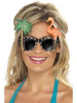 View Item Adult Hawaiian Specs Fancy Dress Glasses Shades Luau Flamingo Palm Tree