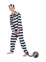 View Item Child Chain Gang Convict Fancy Dress Prisoner Costume
