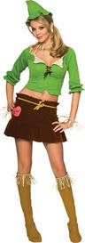 View Item Adult Ladies 10-12  Sexy Scarecrow Fancy Dress Wizard of Oz Halloween Costume