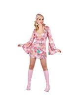 Ladies 1960s Baby Pink Hippy Girl Costume