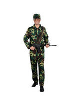 View Item Adult Army Man Soldier Camouflage Fancy Dress War Forces Costume Mens Outfit