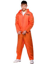 Men's Orange Inmate Boiler Suit Costume