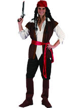 View Item Adult Caribbean Pirate Fancy Dress Sea Costume Mens Gents