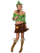 View Item Adult Ladies Small 6-8 Sexy Sultry Scarecrow Fancy Dress Wizard Of Oz Costume BN