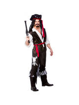 View Item Adult High Seas Buccaneer Fancy Dress Pirate Costume Mens Gents Male