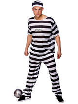View Item Adult Prison Break Convict Fancy Dress Costume Mens Gents Male
