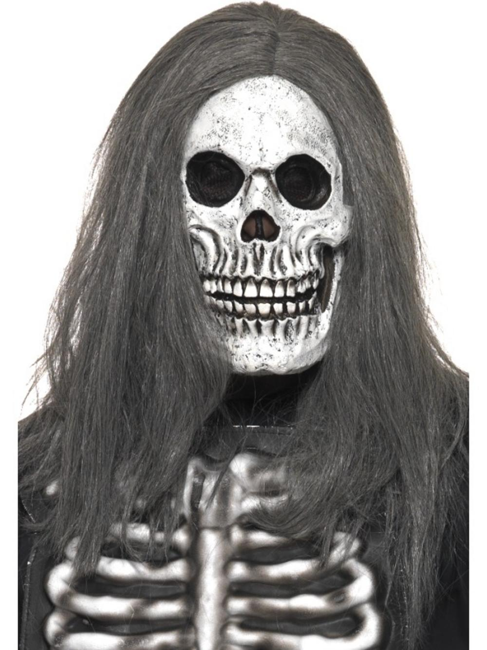 Adult Latex Sinister Skeleton Mask & Hair Fancy Dress Halloween ...