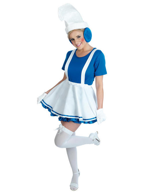 Adult Lady Blue Garden Gnome Fancy Dress Costume Ladies Womens