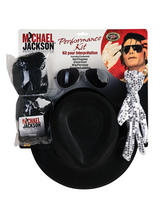 View Item Licensed Billy Jean Michael Jackson Wig Glove Hat Sun Glasses Set Fancy Dress