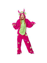 View Item Adult Mighty Monster Pink Fancy Dress Costume Halloween Wild Animal Onesie