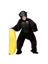 View Item Adult Gorilla Fancy Dress Costume Wild Animal Jungle Zoo Onesie Mens Ladies