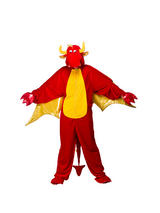 View Item Adult Red Dragon Fancy Dress Costume Halloween Wild Animal Onesie Unisex
