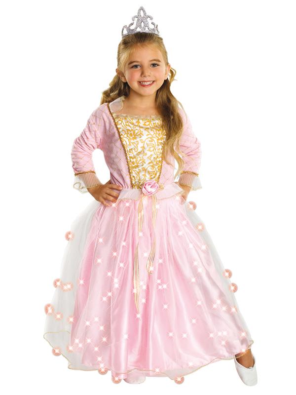 Child Light Up Rose Pink Princess Fibre Optic Fancy Dress Fairy Costume BN