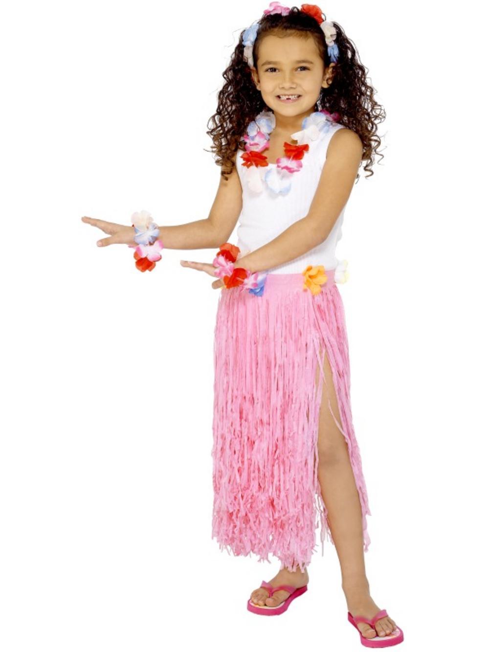 Item details child costume pink grass hula tiki straw skirt hawaiian