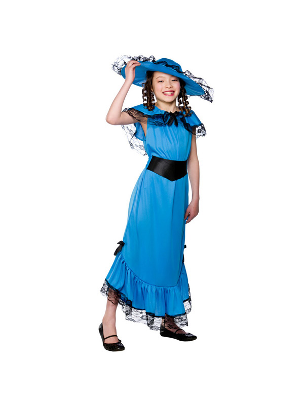 Girls-Blue-Victorian-Lady-Costume-Fancy-Dress-Up-Party-Book-Week-Outfit-Child